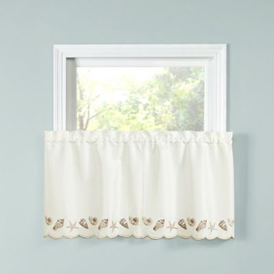Seashells 36 Inch Kitchen Window Curtain Tier Pair In Natural