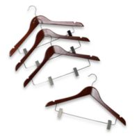 17-Inch Suit Hangers with Clamps in Red Mahogany Wood (Set of 4)