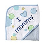 "Luvable Friends® ""I Love Mommy"" Embroidered Hooded Towel in Blue"