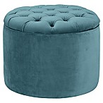 TOV Furniture Queen Velvet Storage Ottoman in Sea Blue