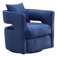 TOV Furniture Velvet Swivel Kennedy Chair in Navy