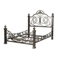 Fashion Bed Group Baroque King Metal Complete Bed in Gilded Slate