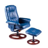 Southern Enterprises Lannica Swivel Recliner and Ottoman Set in Navy
