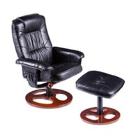 Southern Enterprises Lannica Swivel Recliner and Ottoman Set in Black