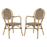 Safavieh Rosen French Bistro Stacking Arm Chair in Brown/White (Set of 2)