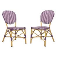 Safavieh Lisbeth French Bistro Stacking Side Chair in Purple/White (Set of 2)