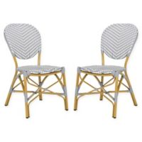Safavieh Lisbeth French Bistro Stacking Side Chair in Grey/White (Set of 2)
