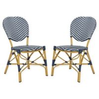 Safavieh Lisbeth French Bistro Stacking Side Chair in Navy/White (Set of 2)