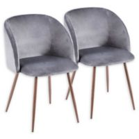LumiSource Luna Velvet Dining Chairs in Grey/Walnut (Set of 2)