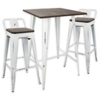 LumiSource Oregon 3-Piece Pub Set in Vintage White/Espresso