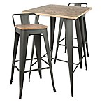 LumiSource Oregon 3-Piece Pub Set in Grey/Brown