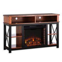 Southern Enterprises Electric Fireplace TV/Media Stand in Oak/Black