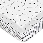 TL Care® 2-Pack Arrow and Stripe Fitted Cotton Playard Sheets in Silver/Black