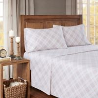 True North by Sleep Philosophy Cozy Flannel Plaid Twin Sheet Set in Pink