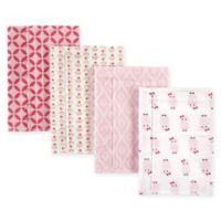 Hudson Baby® 4-Pack Flannel Burp Cloths in Multi/Pink Owls