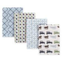 Hudson Baby® 4-Pack Flannel Burp Cloths in Multi/Blue Cars