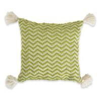 Patio Chevron Square Indoor/Outdoor Throw Pillow in Green