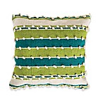 Bauble Stripe Square Indoor/Outdoor Throw Pillow in Teal