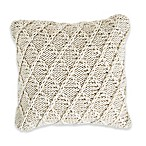 Diamond Textured Square Indoor/Outdoor Throw Pillow in Natural