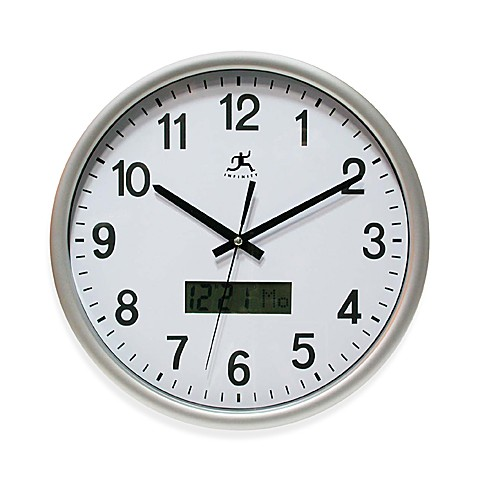Infinity Instruments Datekeeper Wall Clock - Silver