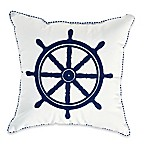 Destination Summer Crewel Ship Wheel Square Outdoor Throw Pillow
