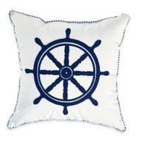Destination Summer Crewel Ship Wheel Square Outdoor Throw Pillow