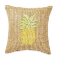 Destination Summer Pineapple Woven Square Outdoor Throw Pillow in Yellow