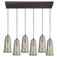ELK Lighting Hammered Glass 6-Light Island Light in Oil Rubbed Bronze with Smoke Shades
