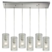ELK Lighting 6-Light Ice Fragments Tiered Pendant Light in Satin Nickel/Clear