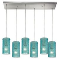 ELK Lighting 6-Light Ice Fragments Tiered Pendant Light in Satin Nickel/Aqua