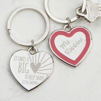 A Teacher's Heart Heart Keychain