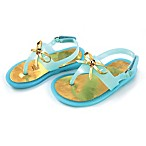 Rising Star™ Bow Size 0-3M Jelly Thong Sandal in Aqua