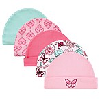 Luvable Friends® Size 0-6M 5-Pack Flower Caps in Pink