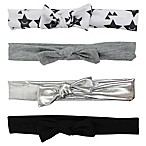 Tiny Treasures™ 4-Pack Novelty Mini Knot Headbands in Black/White/Grey