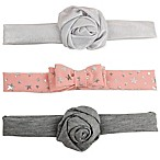 Tiny Treasures™ 3-Pack Novelty Rose Bow Headbands in Pink/Grey
