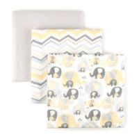 Tadpoles Elephant Cotton Muslin Receiving Blankets in Yellow (Set of 3)