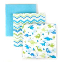 Tadpoles Dinosaur Cotton Muslin Receiving Blankets in Blue (Set of 3)