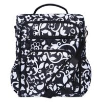 French Bull® Vine Condensed Convertible Backpack Diaper Bag in Black/White