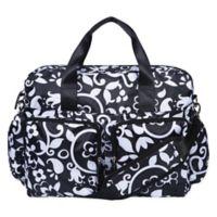 French Bull® Vine Deluxe Duffle Diaper Bag in Black/White