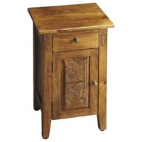 Butler Webster Hand-Carved Chairside Chest in Light Brown
