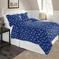 Pointehaven Snowflake Full/Queen Flannel Duvet Cover Set in Navy