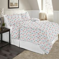 Pointehaven Winter Owls Twin/Twin XL Flannel Duvet Cover Set in Brown/Multi