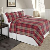Pointehaven Plaid King/California King Flannel Duvet Cover Set in Red/Brown
