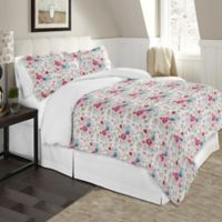Pointehaven Soft Floral Twin/Twin XL Flannel Duvet Cover Set in Red/Blue