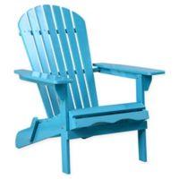 Acacia Wood Adirondack Folding Chair in Teal