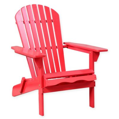 Acacia Wood Adirondack Folding Chair In Red