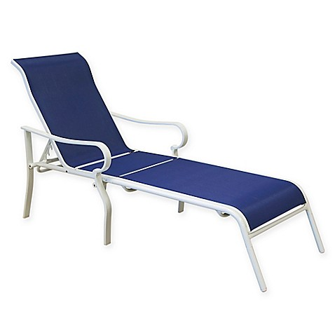 Summerwinds aluminum chaise lounge in blue white bed for Bathroom chaise lounge