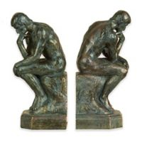 Ridge Road Décor Thinking Man 2-Piece Bookend Set in Bronze