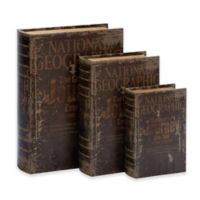 """Ridge Road Décor 3-Piece """"National Geographic"""" Faux Leather Book Box Set in Brown"""