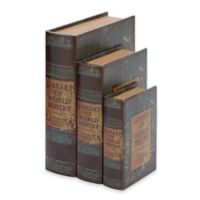 Ridge Road Décor 3-Piece Library of World Poetry Faux Leather Book Box Set in Green